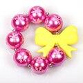 3Pcs Christmas Gift Green Beads Red Bow Chunky Beads Bubblegum Bracelet Baby Toddler Kids Chunky Bracelet Cosplay Dress Up