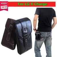 Men Black Brown Leather Belt Phone Pouch Hoslter Waist Bag Case For LG X Charge LS7