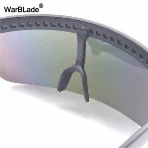 Image 5 - WarBLade חדש גדול חומת Visor משקפי שמש נשים מעצב גדול Goggle מסגרת מראה שמש משקפיים גווני גברים Windproof Eyewear