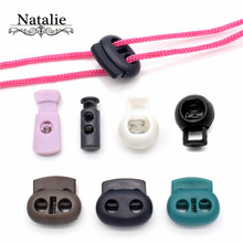 20pcs black plastic stoppers cord lockhole toggles clip apparel bungee cord accessories clothes plastic push lock colorful цена