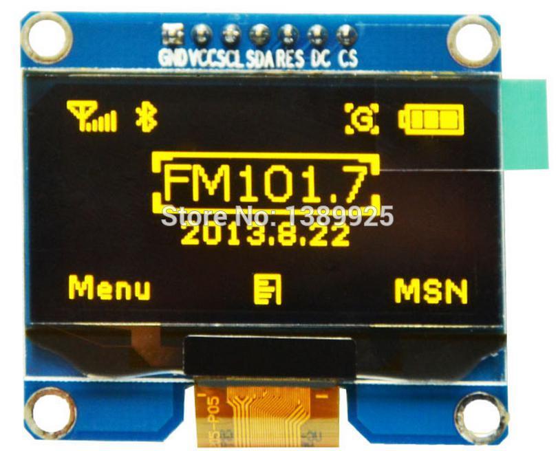 Wholesale 2pcs 1 54 inch 7PIN Yellow OLED Module SPD0301 Drive IC IIC SPI Interface 128