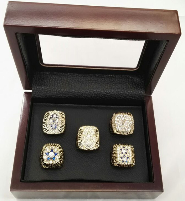 Alloy Rings Sets for Replica Super Bowl 5 Years Sets 1971/1977/1992/1993/1995 Dallas Cowboys Championship Ring With Wooden Boxes