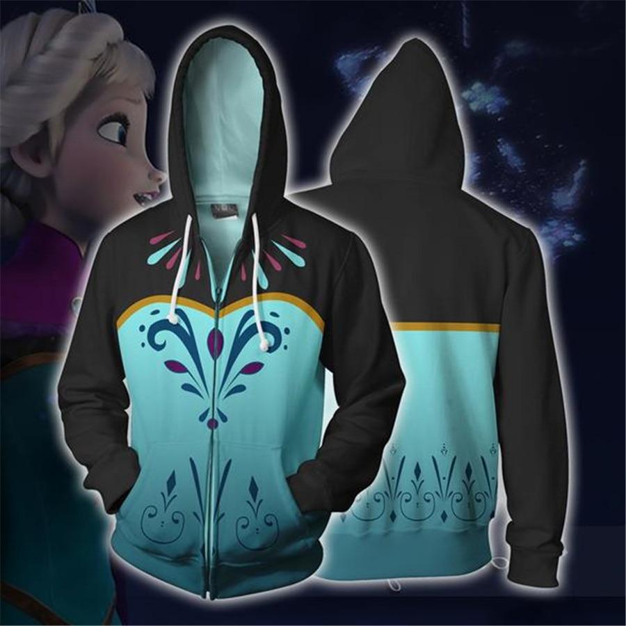 Jaqueta Frozen traje elsa cosplay filme moletom com capuz moletom masculino mulher roupas com zíper jaquetas