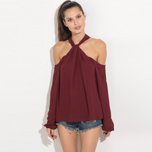 Fashion Women Shirts Zipper Solid Hang Adornment Show A Shoulder Neck Blouse Shirt Wine Red 9009