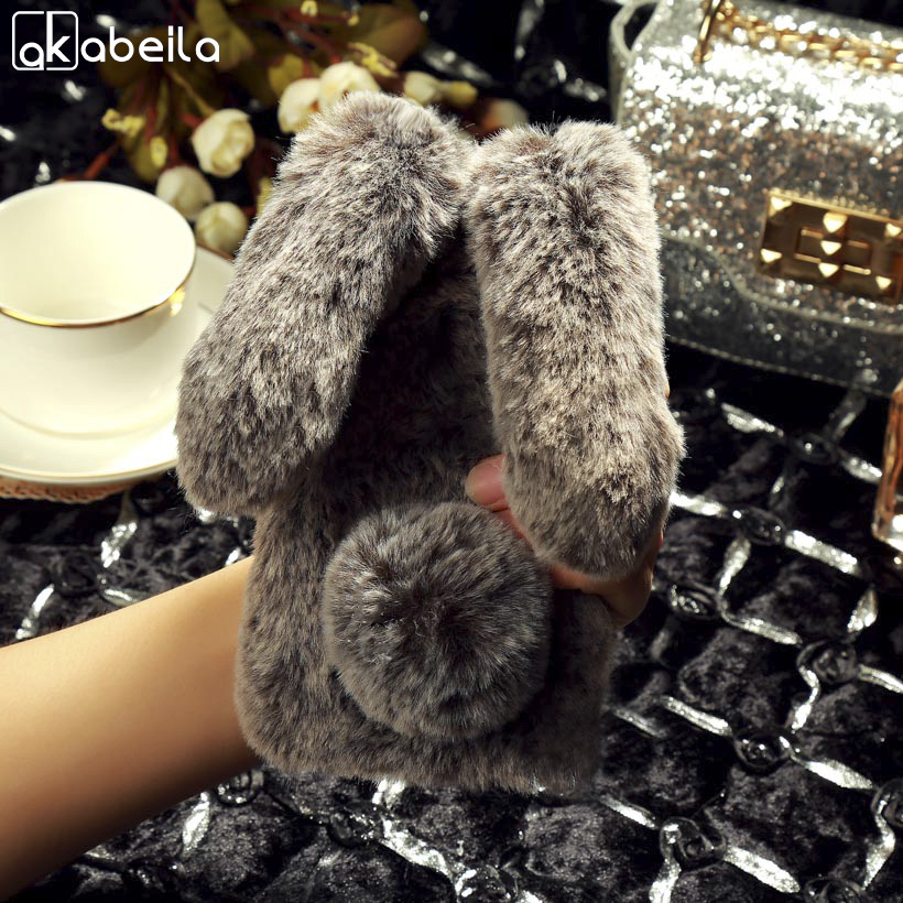 AKABEILA Luxury Rabbit Fur Case For Meizu Pro 7 Case Silicon Soft TPU Fluffy Warm Bling Cases Coque For Meizu Pro7 Cover 5.2