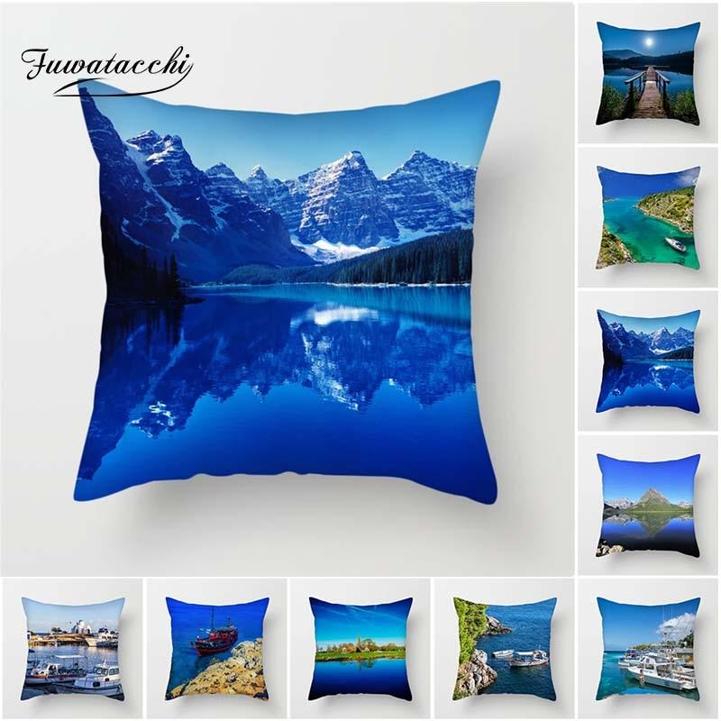 Fuwatacchi Snow Mountain Cushion Cover Mediterranean Landscape Throw Pillowcase Decorative Pillows Scenic Home Sofa