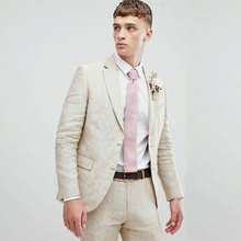 Summer Beach Ivory Linen Men Suits for Wedding Custom Made Groom Tuxedo Costume Mariage Homme Slim Fit Terno Masculino