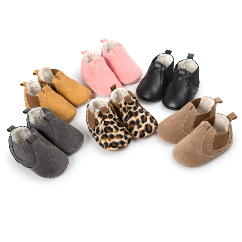 2018 Baby Shoes Fashion Baby Girls Boys Shallow Moccasins Baby Anti Slip Elastic Soft Rubber Winter First Walkers