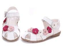 Filles sandales d'été 2016 nouvelle mode fleur enfants sandales en cuir véritable chaussures, Super qualité fille sandales enfant sandales