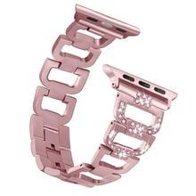Bling Faixa de Relógio Banda Compatível Apple iWatch 4/3/2/1 Diamante Strass Pulseira De Metal Em Aço Inoxidável cinta 82002
