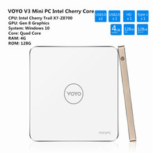 VOYO V3 Mini PC TV Box Cherry X7-Z8700 Trail Quad Core Set-Top caja Para Windows 10 4 K WiFi Bluetooth 4 GB 128 GB Reproductor Multimedia Inteligente
