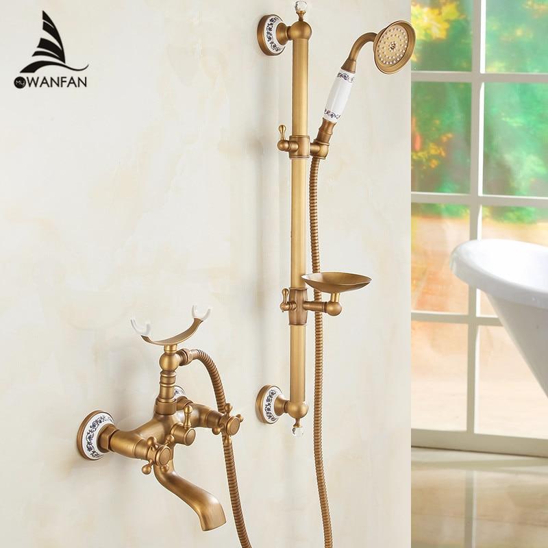 Bathtub Faucets Antique Bathroom Tub Mixer Faucet New Ceramic Style Handheld Bathtub Faucet Wall Mounted Shower Faucets HA 001