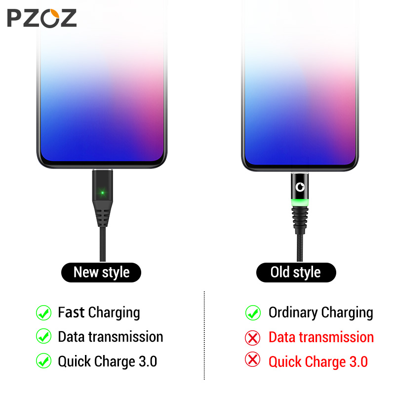 PZOZ 1M 2M Magnetic Cable Micro Usb Type C Fast Charging Microusb Type-C Magnet Charger Wire Usb C For Iphone X Xr Xs Usb Cable