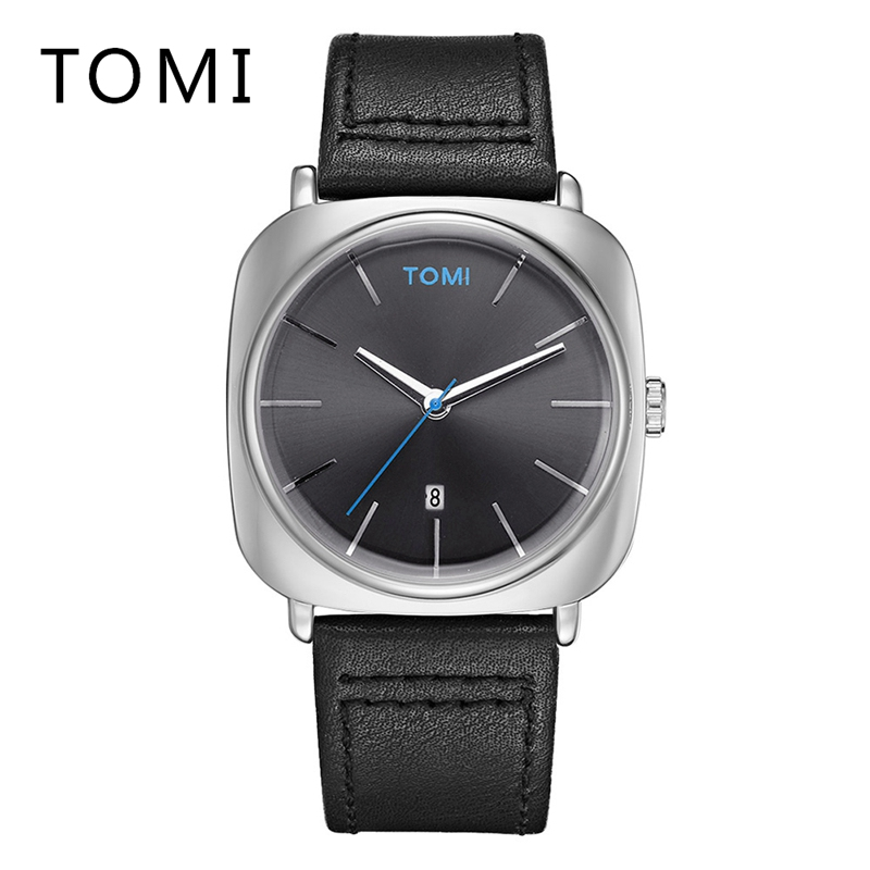 Tomi 2017 New Brand Watches Men Dress Business Sport Quartz Wrist Watch Leather Band Simple Casual Male Gift Military Clock T013 genuine curren brand design leather military men cool fashion clock sport male gift wrist quartz business water resistant watch