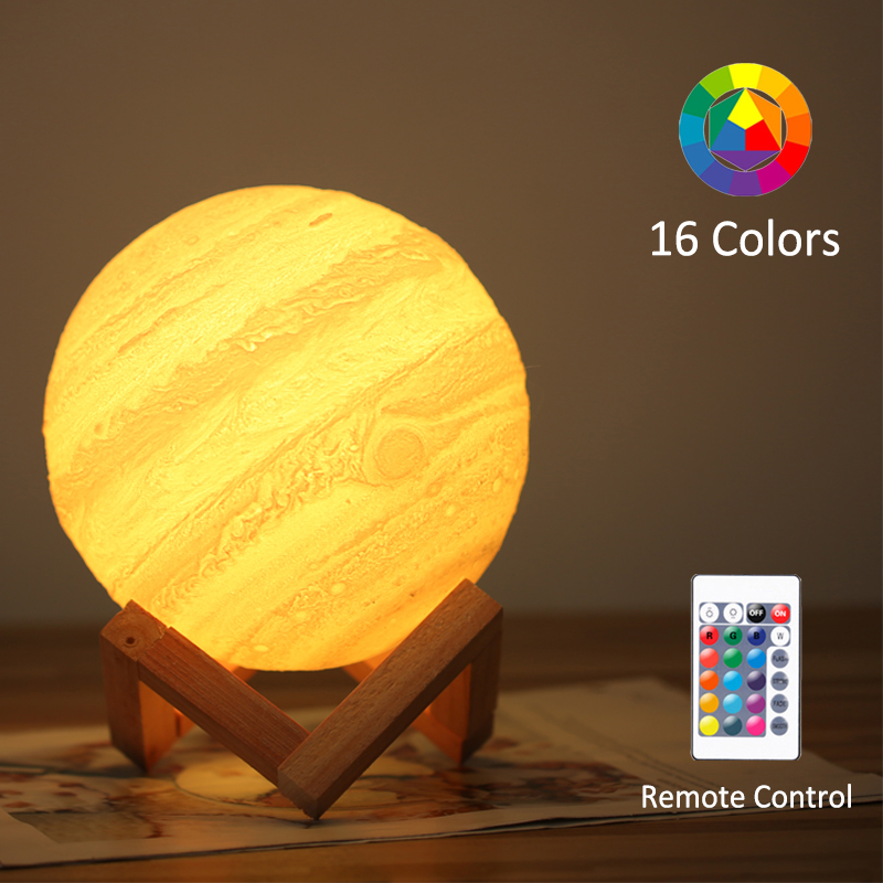 3D Printing Jupiter Lamp Moon Light Earth 16 Colors Remote Contorl Rechargeable Night Light Child Baby Bedroom Decor Colorful