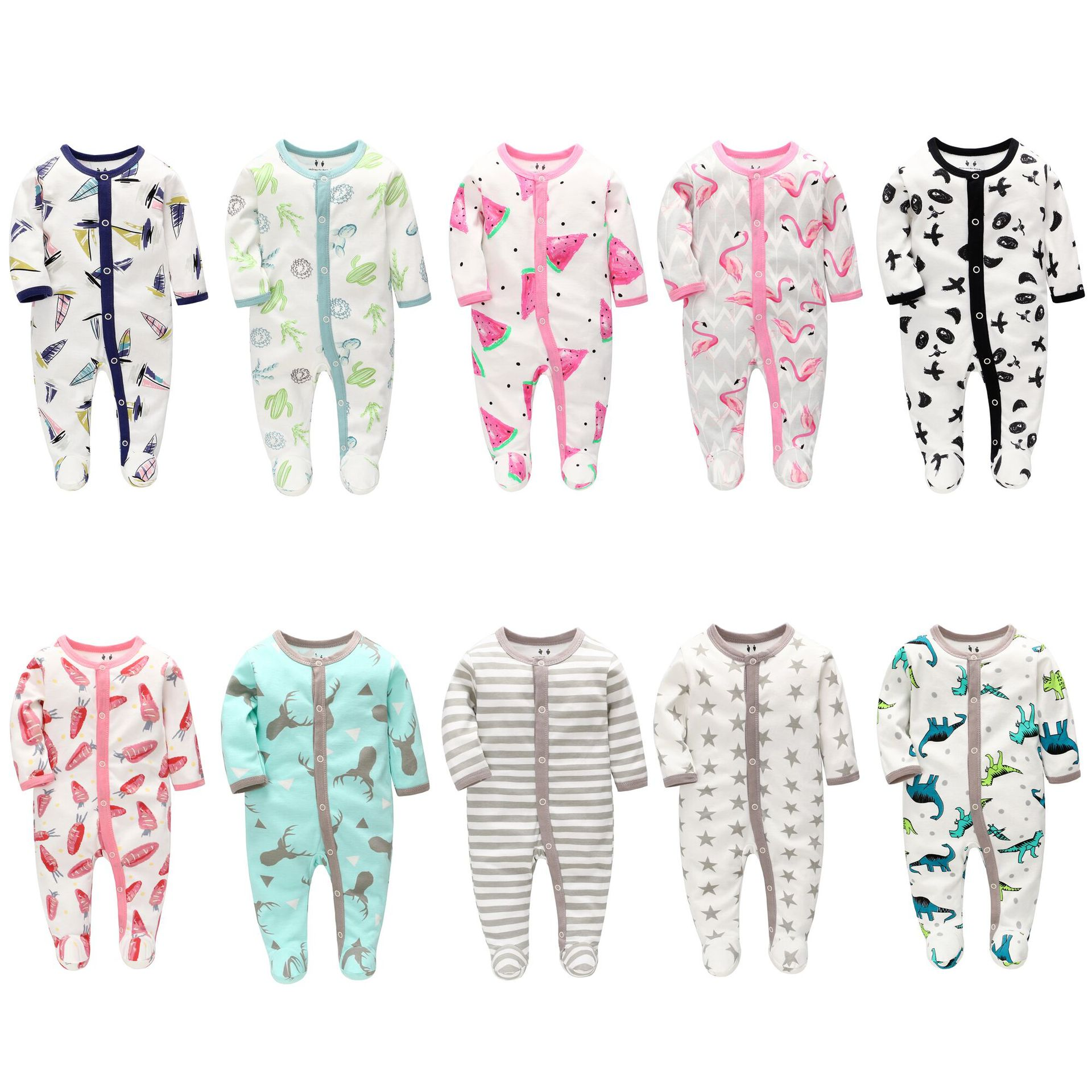 2 Sets/Lot Baby Clothes Boys Rompers Pajamas Overalls Toddler Girls  Newborn Infant Jumpsuit Baby Romper Climb Clothin 0-6 Month
