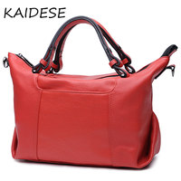 KAIDESE Simple Leisure Large Capacity Handbag Female Leather Hand Made Head Layer Leather School Wind Slanting