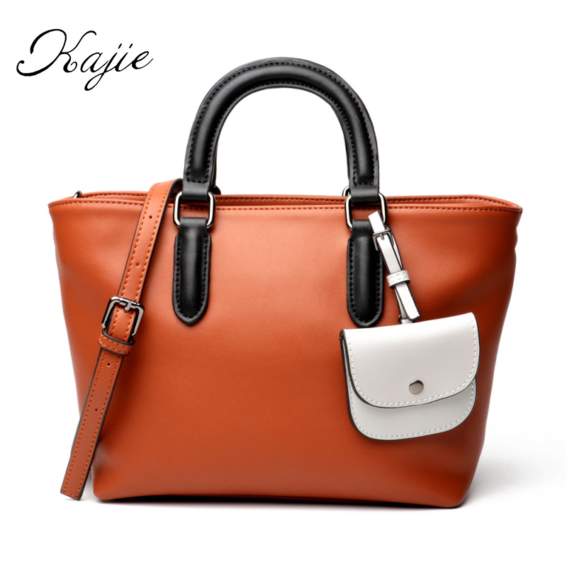 Kajie Really Genuine Leather Women Handbags Famous Brand Tote Bag Designer Spring Female Messenger Crossbody Bag Bolsos Sac yeesupsei women genuine leather handbag famous brand tote bag designer handbag female messenger crossbody bag women bolsos sac