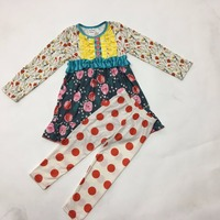 Wholesale Latest Design Fall Girls Boutique Outfits Print Dress With Button Red Dot Cotton Legging Baby