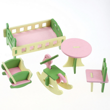 5pcs/set 1:16 Dollhouse Miniature Baby's Room Creative Furniture Wooden Cottage Cradle Bed Hobbyhorse Chair Kid/Child Toy House