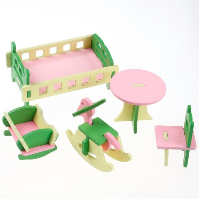 Amazing 5pcs/set 1:16 Dollhouse Miniature Babyu0027s Room Creative Furniture Wooden  Cottage Cradle Bed