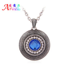 Vintage Round Antique Silver Blue/Pink Glass Stone Austrian Crystal Neckace Women And Men Ethnic Classic Circle Chain Pendants