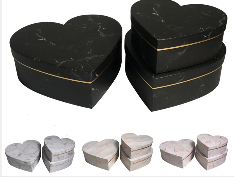 54pcs wholesale heart-shaped round flower packaging gift box gold foil wedding decoration preferred gift flower box