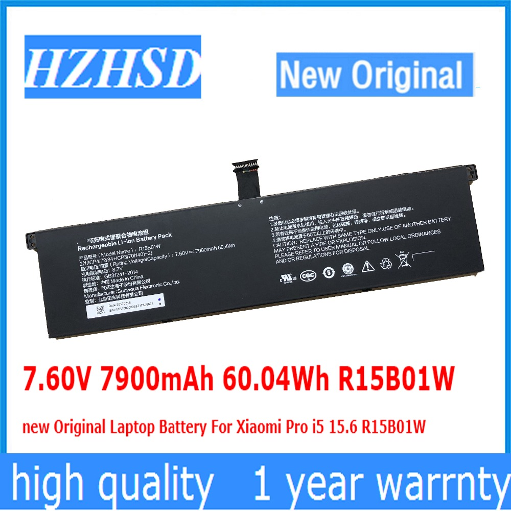 7.60V 7900mAh 60.04Wh R15B01W new Original Laptop Battery For Xiaomi Pro i5 15.6 R15B01W(China)