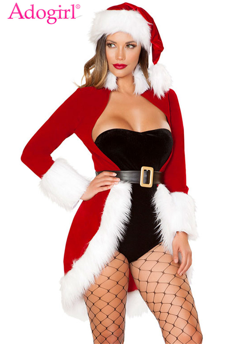 Adogirl Christmas Queen Luxe Fur Trim 4pcs Costume Christmas Hat + Strapless Bodysuit + Long Sleeve Cardigan Outercoat + Belt