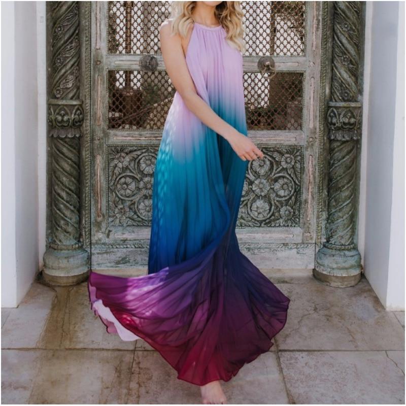 e16ea6b8748 Loneyshow Women Backless Maxi Dress 2018 Sexy Ombre Pleated Sleeveless  Summer Dress Halter Neck Long Boho Beach Dress-in Dresses from Women s  Clothing on ...