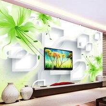 3d фотообои на заказ романтичные зеленые цветы лилии современная