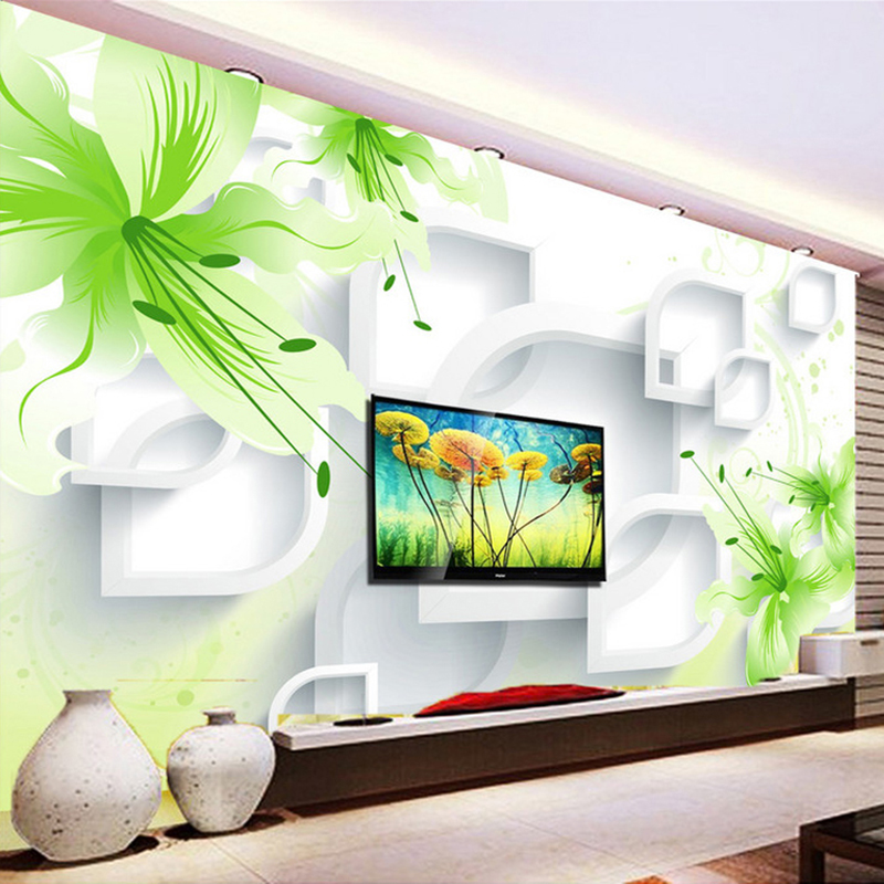 Custom 3D Photo Wallpaper Romantic Green Lily Flower Modern Simple Living Room TV Background Wall Mural Wall Papers Home Decor