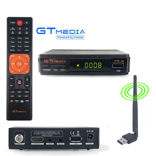 Freesat V7 Up DVB-S2 Satellite Receiver Set Top box TV Tuner Year Cline Receptor Youtube vu Biss 3dbi USB WiFi Antenna TV Box