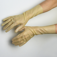 New Transparent Natural Latex Short Gloves To Wrist 5 Fingers 100 Pure Rubber Short Glove Hot