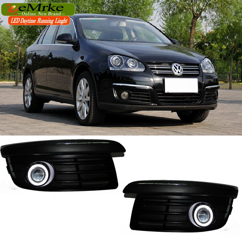 eeMrke For Volkswagen VW Jetta LED Angel Eyes DRL Daytime Running Lights Tagfahrlicht Halogen Bulbs H11 55W Fog Lights eemrke for toyota vios yaris belta 2007 2013 led angel eye drl daytime running light halogen yellow h11 55w fog lights