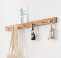 Solid wood hook simple brass oak wall hanger home decoration key storage hook bedroom living room wall hanger coat hook