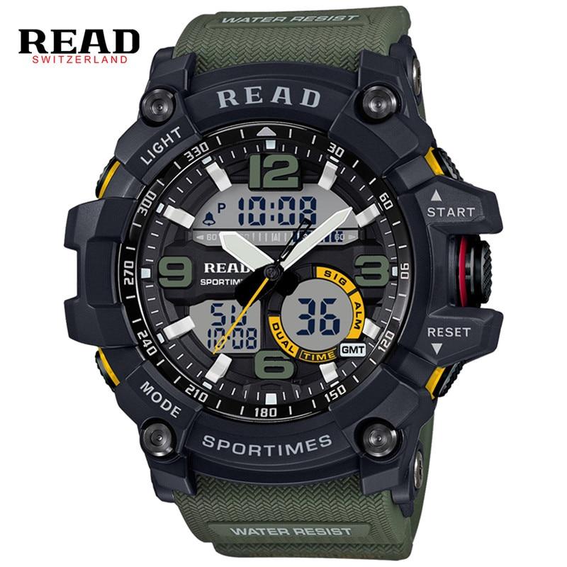 READ Brand Men Sport Military Quartz Watches Men Round Dial Large Digital Scale LED Analog Wrist