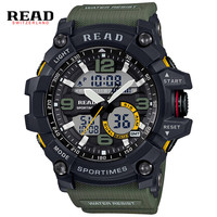 Read brand mannen sport militaire quartz horloges mannen ronde dial grote digitale schaal led analoge polshorloge relogio militan 90001