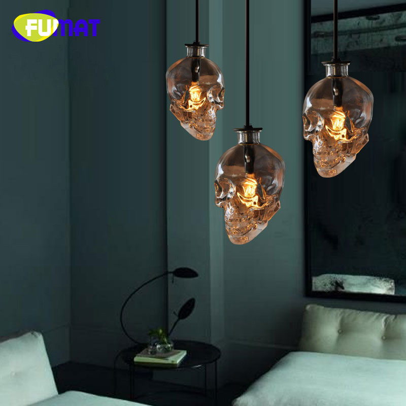 FUMAT Loft Vintage Skull Head Glass Pendant Light Art Bar Hanging Pendant Lamps Dinning Room Edison Pendant Lights E14 LED Bulb fumat stained glass pendant lamps european style glass lamp for living room dining room baroque glass art pendant lights led