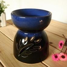 Dia 10*11.8cm Classic Leaf Carving Blue Ceramic Essential Oil Burner Candle Aromatherapy Furnace Incense Vaporizer DC828