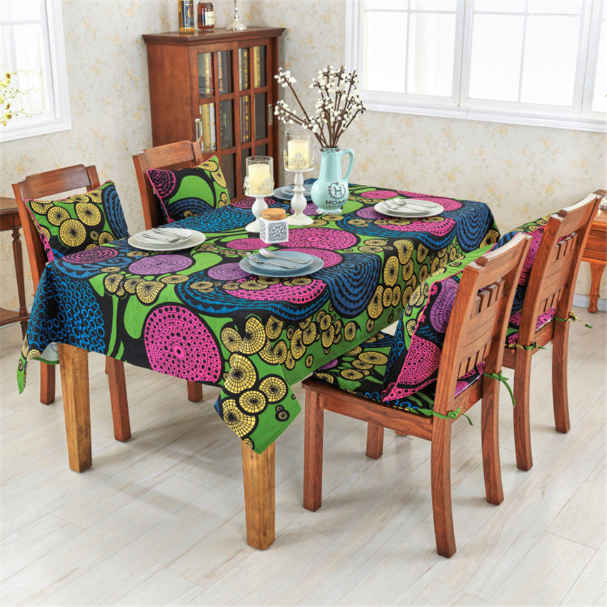 National Style Cotton Tablecloth Dining Table Chair Cver ...