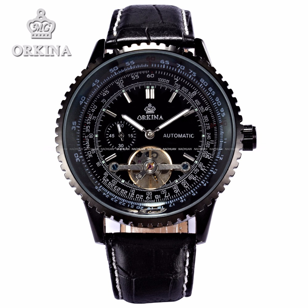 ФОТО Relogios Automaticos Orkina Luxury Man Tourbillon Automatic Watch Men Big 51mm Black Leather Mechanical Self Wind Wrist Watches