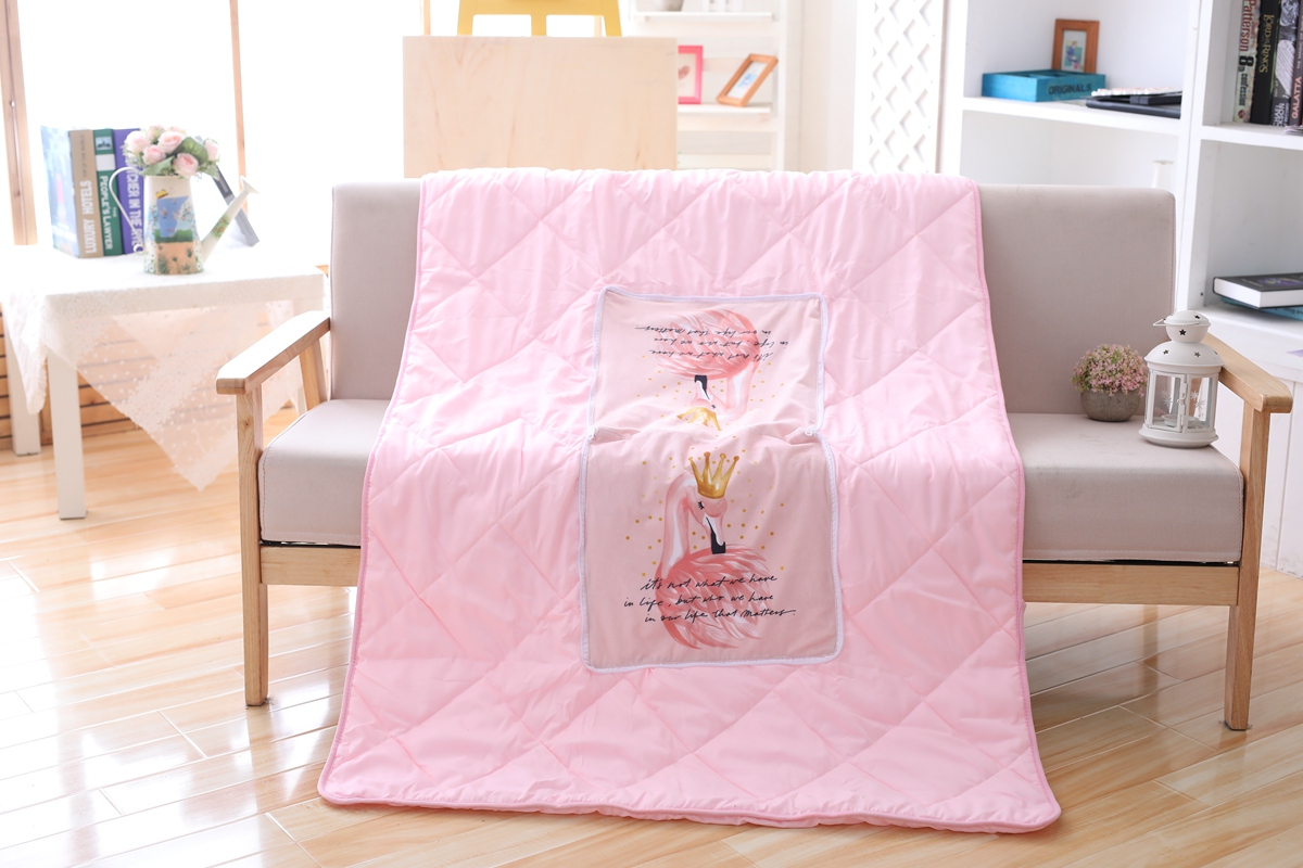Flamingo Summer Pillow and Quilt Blanket 1