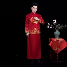The groom embroidered dragon Tang suit sets Chinese style costume male Qipao dress traditional wedding cheongsam for men