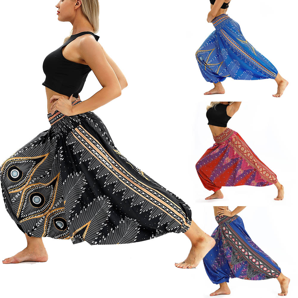 Women Men Pants Casual Woman High Waist Wide Leg Harem Trousers Baggy Boho Loose Aladdin Festival Hippy Jumpsuit Print Lady pant 61