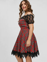 Plus Size Plaid Off The Shoulder Lace Insert Scalloped Party Dress Robe Female