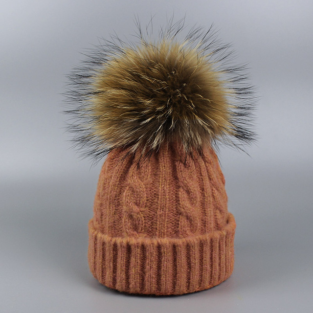 New 100% Real Raccoon Fur Ball Winter Hat Knitted Pom Pom Children Cap Boy girl Twist stripes wool Beanie Hat Unisex 0-3 years