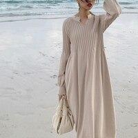 Retro french girl chic knitting v neck long sleeve basic dress mori girl 2019 spring