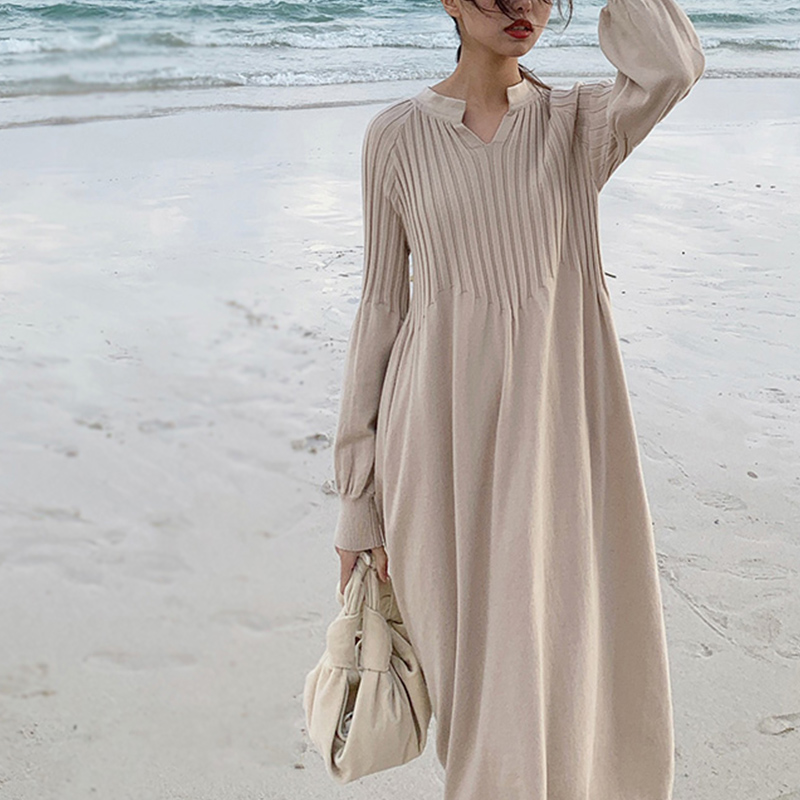 Retro French Girl Chic Knitting V-neck Long Sleeve Basic Dress Mori Girl 2019 Spring