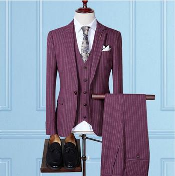 Jacket+Vest+Pants)2018 autumn fashion causal woolen grid mens suit wedding dress men,mens business suits full size S-4XL